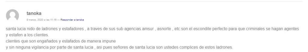 Opinión sobre el seguro de vida Santa Lucía
